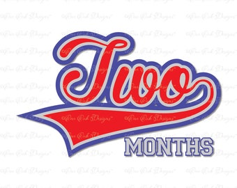 Baseball Baby Birthday Month 2 SVG DXF PNG for Cameo  Cricut & other electronic cutters