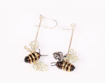 Bee earrings, wire sculpture art, dangle drop, different, gold earrings, insect jewelry, hippie, Spring, anniversary, unique gift for women