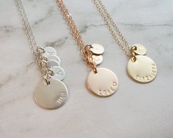 Coin Necklace Tiny Initial Tags Gift for Mom Family Custom Kids Initial Personalized Name Necklace Rose Gold Necklace Jewelry