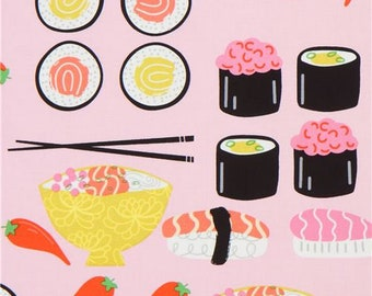 219526 pink Alexander Henry sushi food fabric