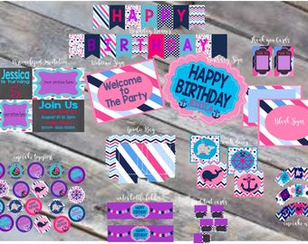 HUGE DISCOUNT!!!Girls Nautical Party DIY kit, Party decorations, kids party decorations, personalized party invitations