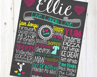 Birthday Chalkboard Sign - Personalized & Printable - Chalkboard Poster - Custom Birthday Sign - hearts - hot pink - live laugh love - ellie