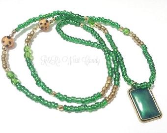 Green Beaded Necklace, Green Pendant Necklace, Minimalist,Boho, Stretchy,  Beaded Jewelry,Women Jewelry, Custom, Handmade, Beaded Jewerly