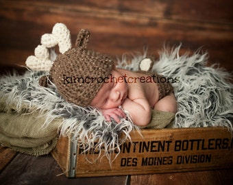 Crochet DEER Antler Hat, MADE to ORDER Animal hat, baby boy, Diaper cover set, Photo Props, Baby Shower Gift, Preemie, Newborn to 12 months