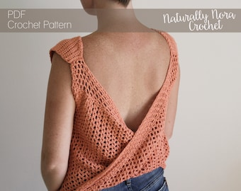 Crochet Pattern: The Avalon Top -Adult Sizes Extra Small, Small, Medium, Large, Extra Large backless sleeveless summer