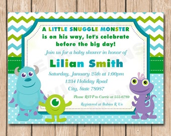 Mini Monsters Inc. Baby Shower Invitation | Boy or Girl, Neutral - 1.00 each printed