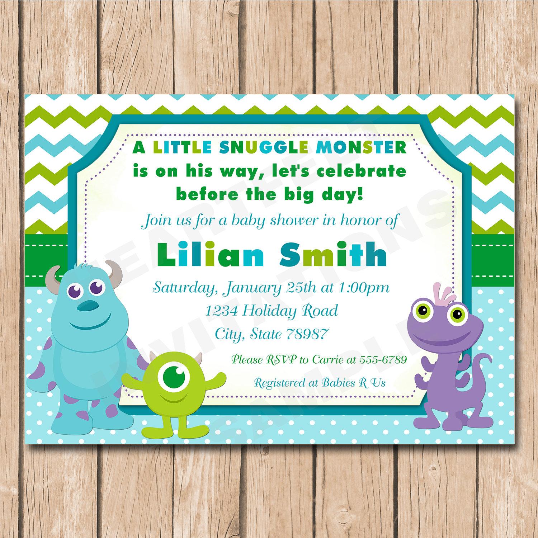 Mini Monsters Inc. Baby Shower Invitation Boy or Girl