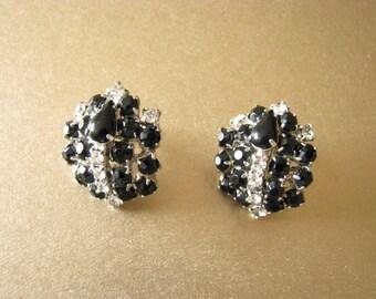 Black And Clear Rhinestone Earrings Stunning