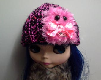Hot Pink and Black Knit Hat Beanie for Blythe Doll with Hot Pink Furry Monster