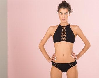 Festival Clothing, Black Bikini TOP, Brazilian Bikini, Cheeky Bikini, Coachella Clothing, Burning Man, Bathing Suit, Halter Bikini
