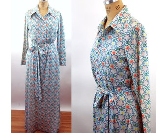 1970s maxi dress cotton knit shirtdress floral long dress with pockets by Tanner Size M