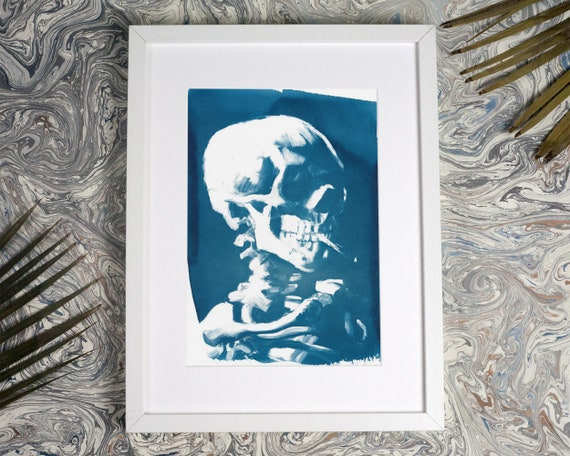 Van Gogh Skull with Cigarette, Cyanotype Print on Watercolor Paper, A4 size (Limited Edition)