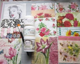 Complete Decoupage KIT. Glue, varnish, gesso, brush and batch of 12 napkins. KIT #2