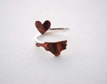 North Carolina Heart Love Twist State Ring (Sterling Silver & Copper Ring)