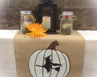 Burlap Table Runner with a pumpkin and a witch on both ends -Halloween decorating Fall runner Holiday decorating