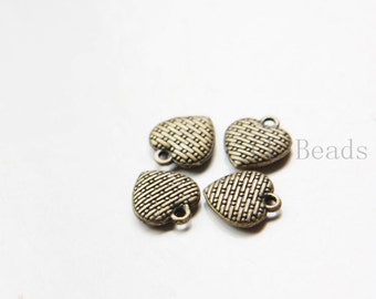 30pcs Antique Brass Tone Base Metal Charms-Heart 12x11mm (11158Y-C-324)