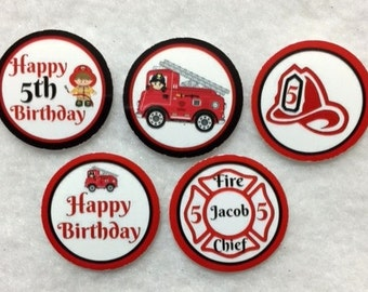 Set of 50/100/150/200  Fireman 5th Birthday Party   1 Inch Confetti Circles