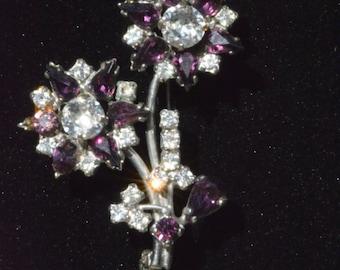 Vintage Purple and Clear Rhinestone Flower Brooch