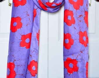Batik scarf, silk scarf, Hand painted silk scarves, gift for her, gift for mom, red floral scarf, red & purple scarf, long scarf, shawl,