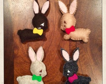 Handmade Felt Bunny Magnets
