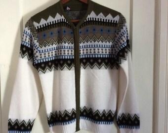 Vintage 1950's Mens Cardigan zipper Sweater size Medium Rockabilly Nordic Ski Snow Navajo