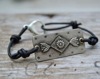 Sterling Diamond Flower Bracelet . Leather .  Handmade  . Rustic . Earthy . Boho . Hand Stamped .  Bracelet