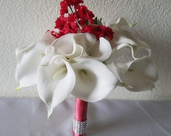 Ivory Red Calla lily Bridal Wedding Bouquet & Boutonniere