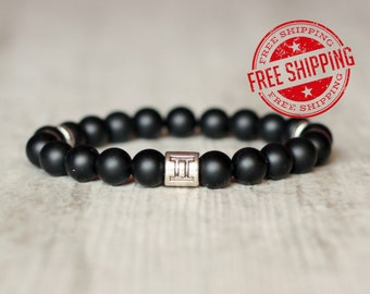 zodiac sign zodiac bracelet zodiac jewelry horoscope gift astrology zodiac gift for men black bracelet birthday gift for him gemini bracelet