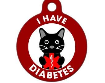 Pet ID Tag - I Have Diabetes Cat Medical ID Tag - Medical Alert Tag, Pet Tag, Child ID Tag, Dog Tag, Cat Tag