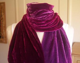 Vintage ombre velvet scarf, burgundy pink lavender / Stevie Nicks gypsy scarf, 74 x 6.5 long oblong fringe