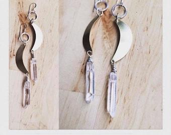 Brass handforged sterling silver 12K gold earwire quartz crystal moon luna earrings