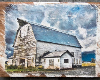Old Blue Barn Fine Art Photograph Manually Transferred to Reclaimed Wood and Ready to Hang in Your Home
