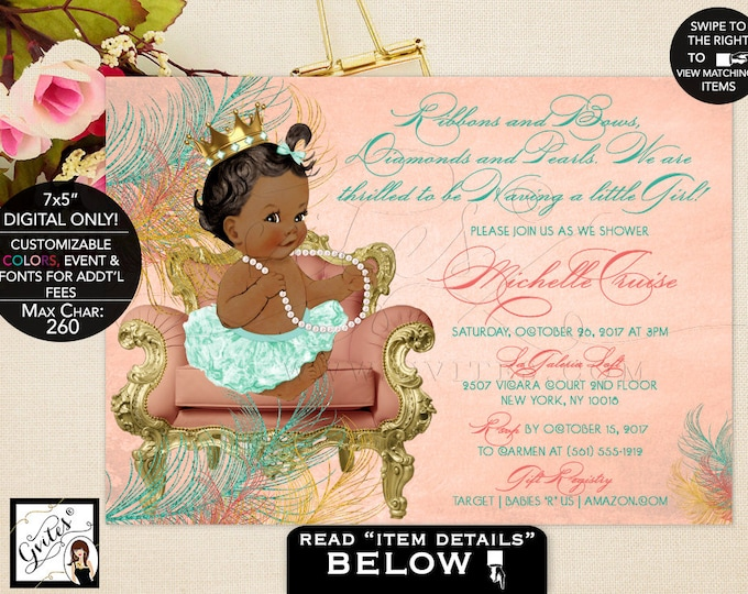 African American Baby Girl Baby shower invitation, ethnic baby vintage coral mint green, ribbons bows, diamonds pearls, princess. Gvites