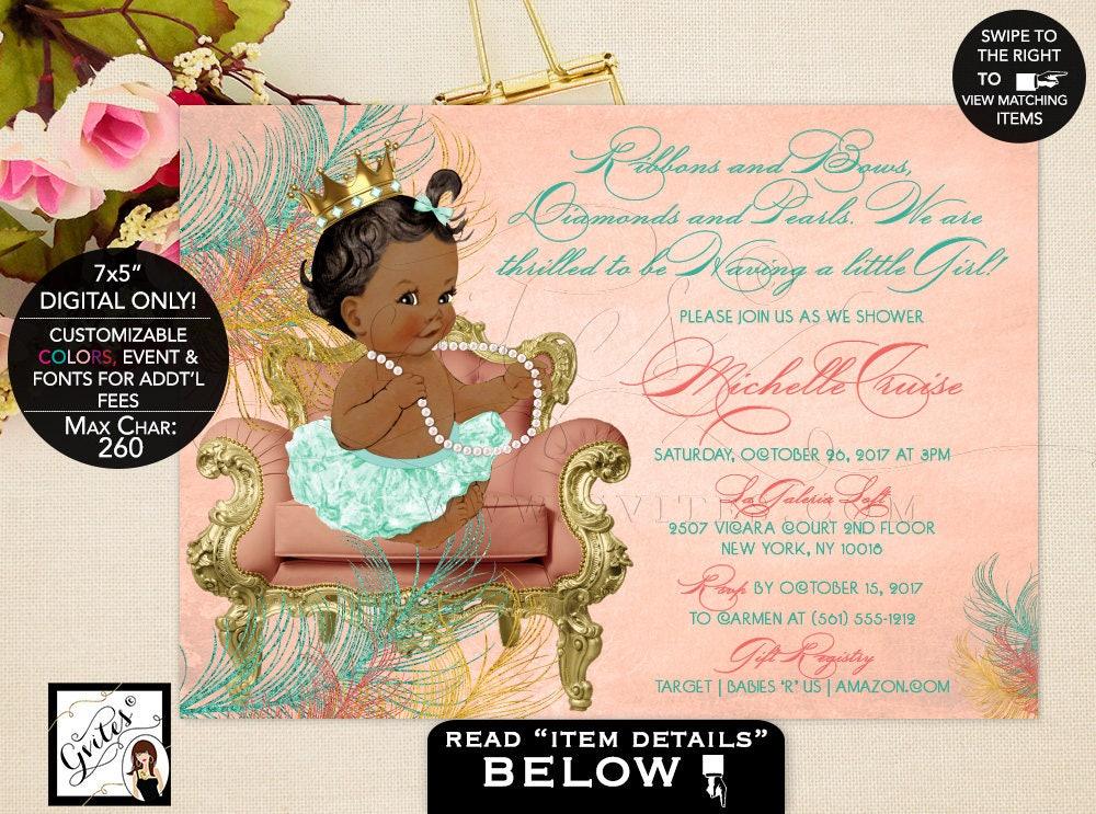 African American Baby Girl Baby shower invitation, ethnic baby ...