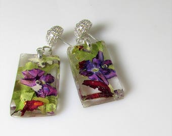 Purple Verbena,  Real Flower Earrings,   Pressed Flower Jewelry, Resin (3061)