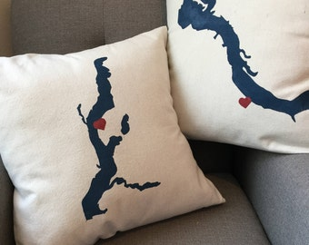 Hand lettered personalized lake place pillow