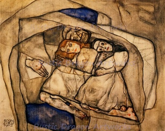 """Egon Schiele """"Conversion"""" 1912 Reproduction Print Expressionism Home Decor Wall Hanging"""