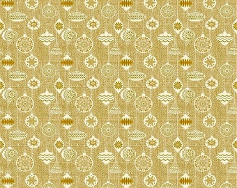By The HALF YARD - Homespun Holiday by Bristol Bay Studio for Benartex, #P4684M33B Holiday White & Gold Metallic Ornaments on Textured Gold