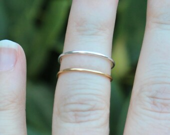 Pair of Single Band Silver & Gold Wire Knuckle Rings