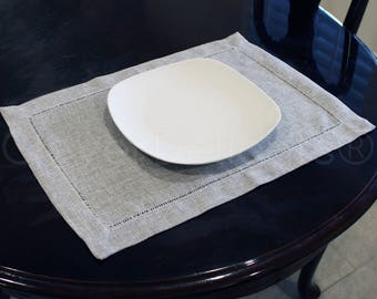 """6 Pk - Hemstitch Placemats - 14"""" x 20"""" - Unique Gray Color - Ladder Hemstitched Place Mats - 100% Soft Polyester - Easy Care & Washable"""