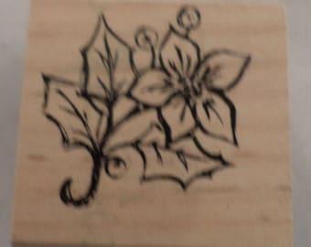 Poinsettia Flower Garden Botanical Holiday Inspired  Wooden Rubber Stamp