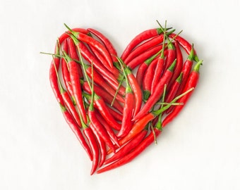 Chill Pepper Heart. Photography print I love you gift.