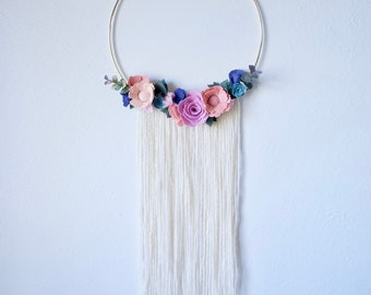 Ready to Ship Fiber Art Felt Floral Gold Hoop Wreath // Coral Peach Pink Purple Succulent Flowers / Macrame Wall Hanging / Mother's Day Gift