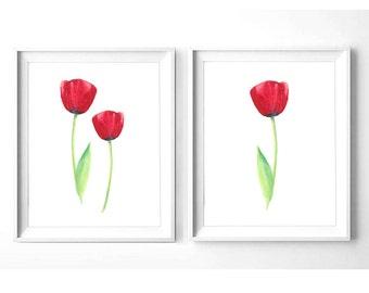red tulips art etsy
