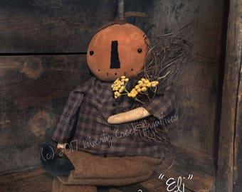 Primitive Fall Pumpkin Doll PATTERN ~ Eli