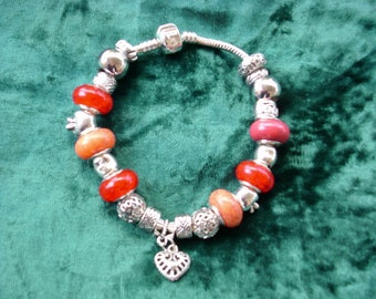 The colors of fall, with a heart beat, Euro style bracelet