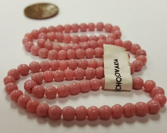 100 Vintage Czechoslovakian Glass Dusty Rose 4mm. Smooth Round Czech Beads 4717