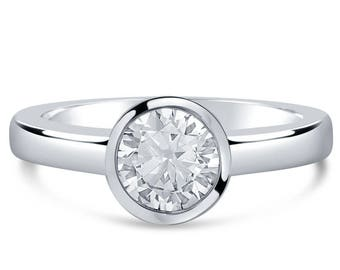 Round Solitaire 1ct Bezel Set Diamond Ring R261