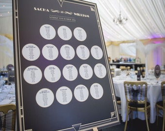 Great Gatsby 1920's Wedding Stationery - A1/A2 Table Plan mounted onto cardboard