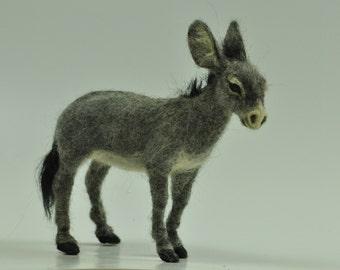 Needle felted Animal . Felted Donkey. Nativity. Made to order